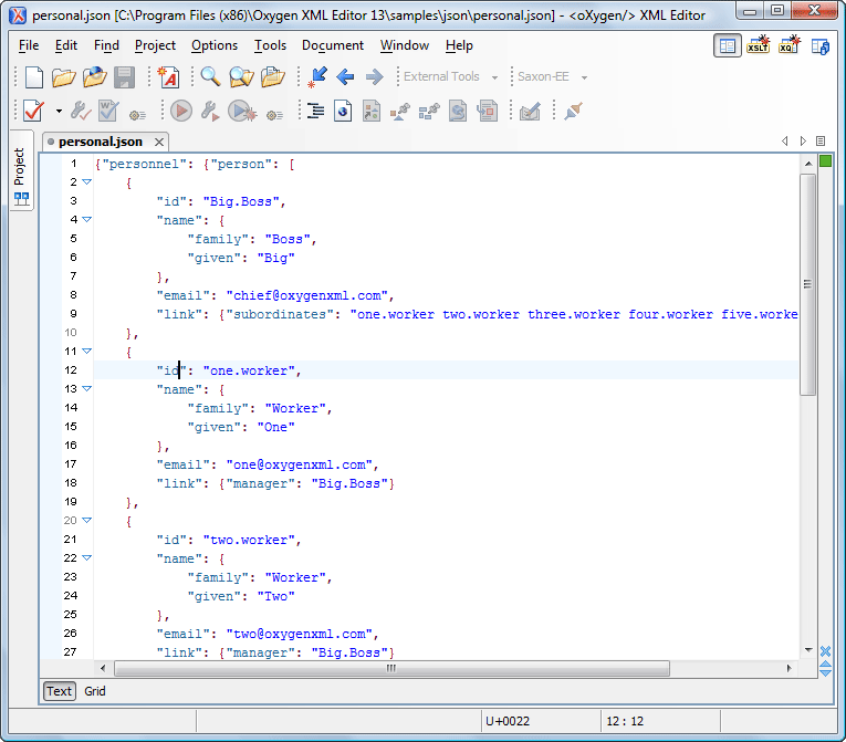 Editing JSON Documents in Text Mode - Oxygen 18 1